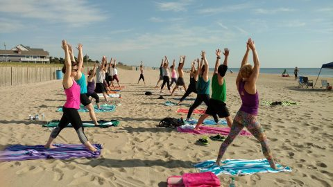 Beach Yoga in Rehoboth Beach with Dimitra Yoga